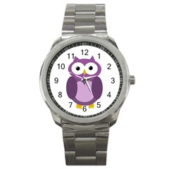 Purple Transparetn Owl Sport Metal Watch by Valentinaart