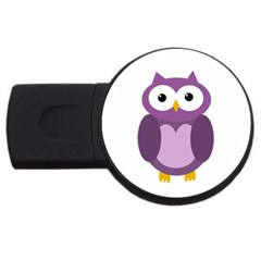 Purple Transparetn Owl Usb Flash Drive Round (4 Gb)  by Valentinaart