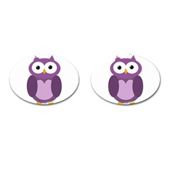 Purple Transparetn Owl Cufflinks (oval) by Valentinaart