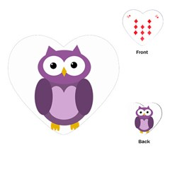 Purple Transparetn Owl Playing Cards (heart)  by Valentinaart