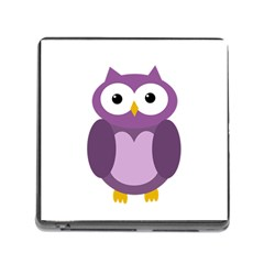 Purple Transparetn Owl Memory Card Reader (square) by Valentinaart
