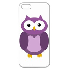Purple Transparetn Owl Apple Seamless Iphone 5 Case (clear) by Valentinaart