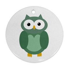 Green Cute Transparent Owl Ornament (round)  by Valentinaart
