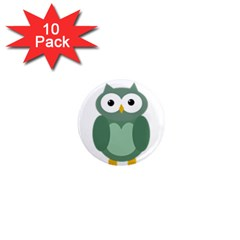 Green Cute Transparent Owl 1  Mini Magnet (10 Pack)  by Valentinaart
