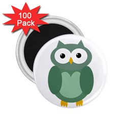 Green Cute Transparent Owl 2 25  Magnets (100 Pack)  by Valentinaart