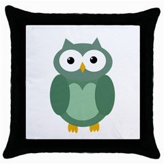Green Cute Transparent Owl Throw Pillow Case (black) by Valentinaart