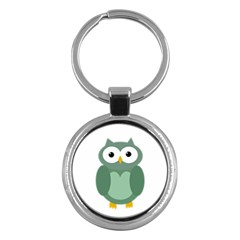Green Cute Transparent Owl Key Chains (round)  by Valentinaart