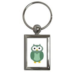 Green Cute Transparent Owl Key Chains (rectangle)  by Valentinaart