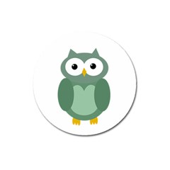 Green Cute Transparent Owl Magnet 3  (round) by Valentinaart