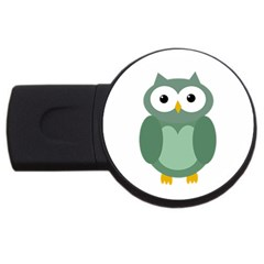 Green Cute Transparent Owl Usb Flash Drive Round (2 Gb)  by Valentinaart