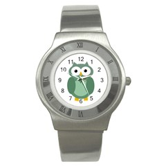 Green Cute Transparent Owl Stainless Steel Watch by Valentinaart