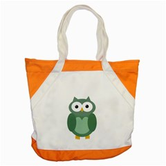 Green Cute Transparent Owl Accent Tote Bag by Valentinaart
