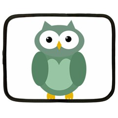 Green Cute Transparent Owl Netbook Case (large) by Valentinaart