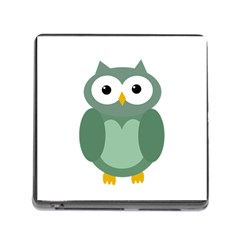 Green Cute Transparent Owl Memory Card Reader (square)