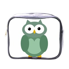 Green Cute Transparent Owl Mini Toiletries Bags by Valentinaart
