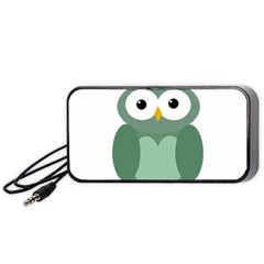 Green Cute Transparent Owl Portable Speaker (black)  by Valentinaart