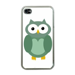 Green Cute Transparent Owl Apple Iphone 4 Case (clear) by Valentinaart