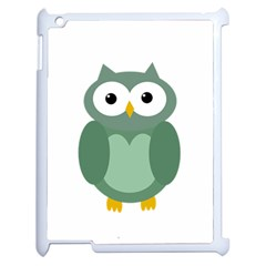 Green Cute Transparent Owl Apple Ipad 2 Case (white) by Valentinaart
