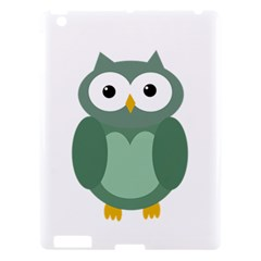 Green Cute Transparent Owl Apple Ipad 3/4 Hardshell Case by Valentinaart