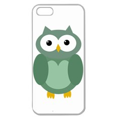 Green Cute Transparent Owl Apple Seamless Iphone 5 Case (clear) by Valentinaart