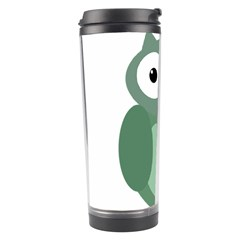 Green Cute Transparent Owl Travel Tumbler by Valentinaart