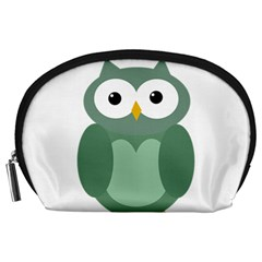 Green Cute Transparent Owl Accessory Pouches (large)  by Valentinaart