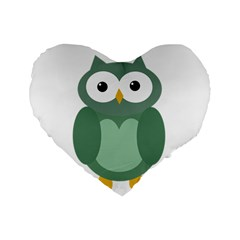 Green Cute Transparent Owl Standard 16  Premium Flano Heart Shape Cushions by Valentinaart