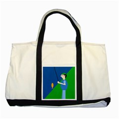 Fisherman Two Tone Tote Bag by Valentinaart