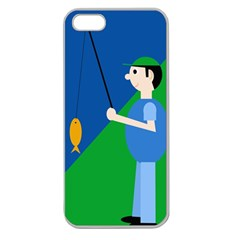 Fisherman Apple Seamless Iphone 5 Case (clear) by Valentinaart