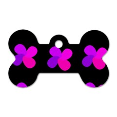 Purple Flowers Dog Tag Bone (one Side) by Valentinaart