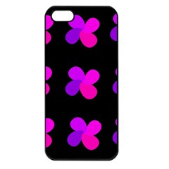 Purple Flowers Apple Iphone 5 Seamless Case (black) by Valentinaart