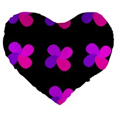 Purple Flowers Large 19  Premium Heart Shape Cushions by Valentinaart