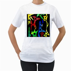 Colorful Abstract Pattern Women s T Shirt (white) (two Sided) by Valentinaart