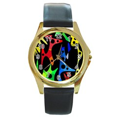 Colorful Abstract Pattern Round Gold Metal Watch by Valentinaart