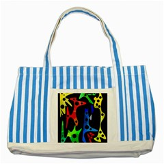 Colorful Abstract Pattern Striped Blue Tote Bag by Valentinaart