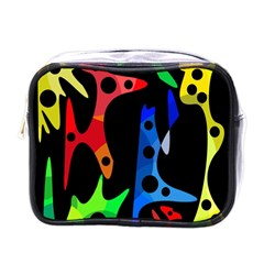 Colorful Abstract Pattern Mini Toiletries Bags by Valentinaart
