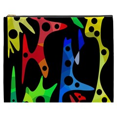Colorful Abstract Pattern Cosmetic Bag (xxxl)  by Valentinaart