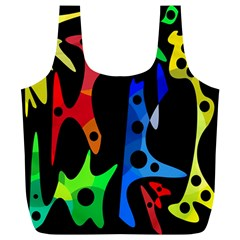 Colorful Abstract Pattern Full Print Recycle Bags (l)  by Valentinaart