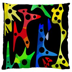 Colorful Abstract Pattern Large Flano Cushion Case (one Side) by Valentinaart