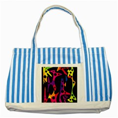 Colorful Pattern Striped Blue Tote Bag by Valentinaart
