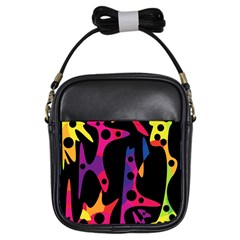 Colorful Pattern Girls Sling Bags by Valentinaart