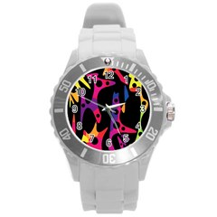 Colorful Pattern Round Plastic Sport Watch (l) by Valentinaart