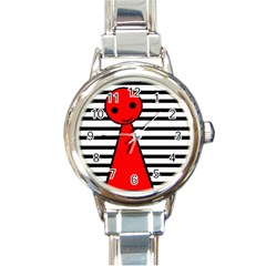 Red Pawn Round Italian Charm Watch by Valentinaart