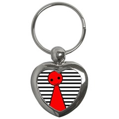 Red Pawn Key Chains (heart)  by Valentinaart