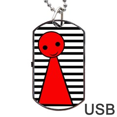 Red Pawn Dog Tag Usb Flash (one Side) by Valentinaart