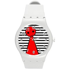 Red Pawn Round Plastic Sport Watch (m) by Valentinaart