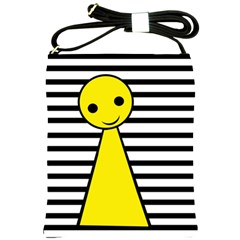 Yellow Pawn Shoulder Sling Bags by Valentinaart