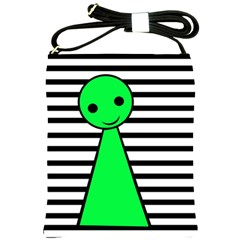 Green Pawn Shoulder Sling Bags by Valentinaart