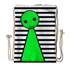 Green Pawn Drawstring Bag (large) by Valentinaart