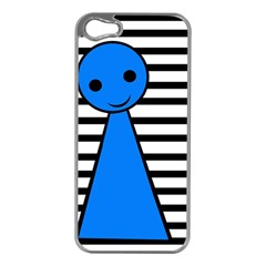 Blue Pawn Apple Iphone 5 Case (silver) by Valentinaart